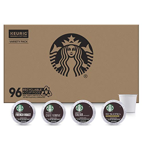 Starbucks Dark Roast K-Cup Coffee Pods — Variety Pack for Keurig Brewers — 1 box (96 pods)