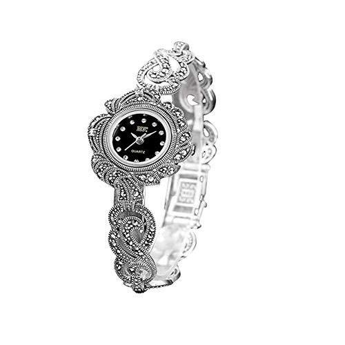 Jade Angel Reloj de pulsera para mujer de plata de ley 925 con diseño de hojas y marcasita tailandesa