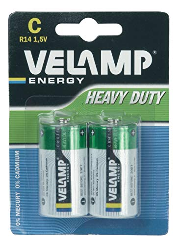 Velamp R14/2BP Set 2 Pile R14 Mezza Torcia Heavy Duty, per torce, radioline, telecomandi, Verde, Set di 2 Pezzi