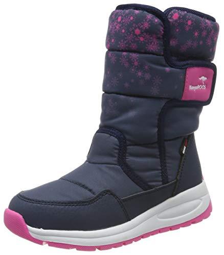 KangaROOS K-Fluff RTX Unisex-Kinder Stiefel, Blau (Dark Navy/Daisy Pink 4204), 32 EU