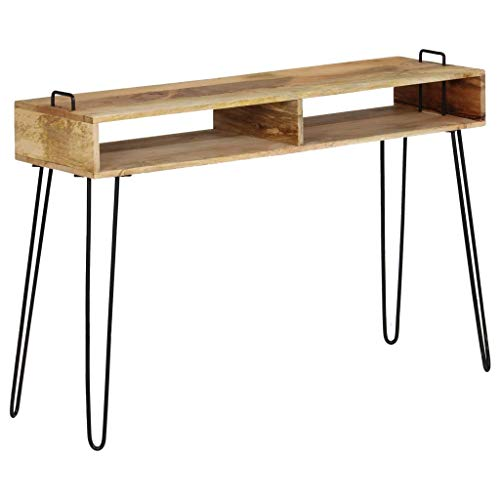 vidaXL Table Console Bois de Manguier Massif Secrétaire Bureau Table d'Appoint
