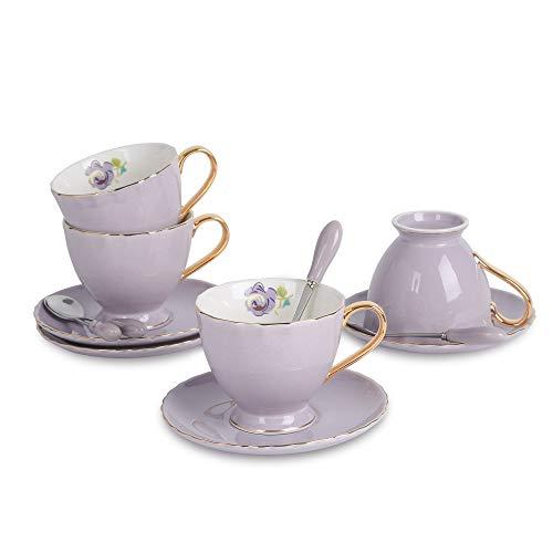 Artvigor, Porzellan Kaffeeservice, 12 TLG. Kaffeetassen Set, Beinhaltet Kaffeetassen, Untertassen und Kaffeelöffeel, 220 ml, Lila Weiß