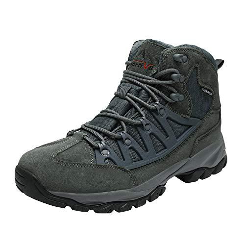 NORTIV 8 Men's Waterproof Hiking Boots Lightweight Mid Ankle Trekking Outdoor Combat Boots Grey Size 7 M US JS19002M