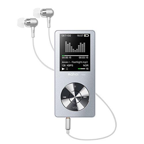 Lecteur MP3 Bluetooth Sport Fochea Hi-FI 8GO Stéréo MP3 Player Baladeur Tactile en Métallique Extensible par Carte Micro SD jusqu'à 64GO avec 1.8 Pouce Écran LCD & Autonomie en Veille Ultra-Longue