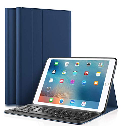 iPad Keyboard Case for iPad 9.7 Inch 2018 (6th Gen) - iPad 9.7 Inch 2017 (5th Gen) - iPad Air 2 - iPad Air 1, Case Cover for iPad Pro 9.7 with Detachable Wireless Keyboard, Auto Wake/Sleep (blue)