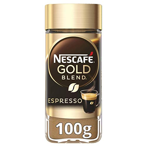 NESCAFE Instant Espresso In Jar, 3.5 Ounce Imported From The UK England Strong Tasting Rich Coffee With Velvety Coffee Crema British Instant Coffee