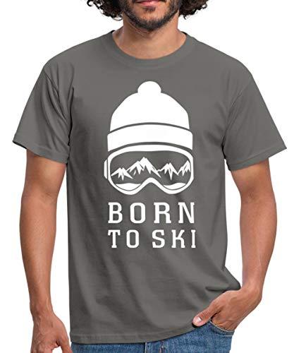 Skifahren Born to Ski Skibrille Berge Männer T-Shirt, M, Graphit