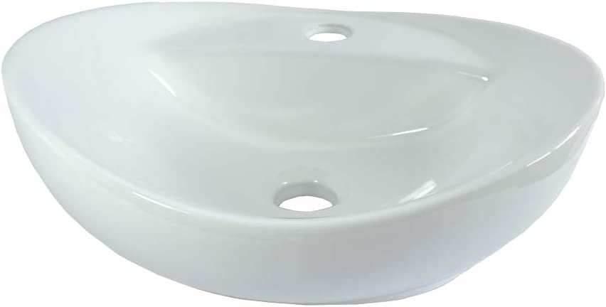 Lavabo de cerámica, Lavabo sobre encimera, lavabo ovalado Lavamanos Cuarto de Baño 40,5x33
