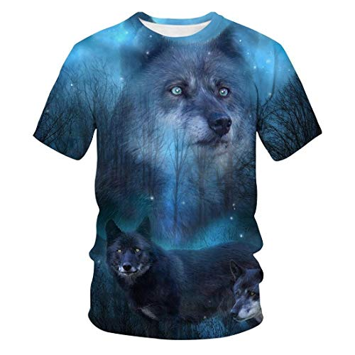Summer Wolf 3D Casual Trend Fashion Round Neck Short Sleeve T-Shirt Men and Women