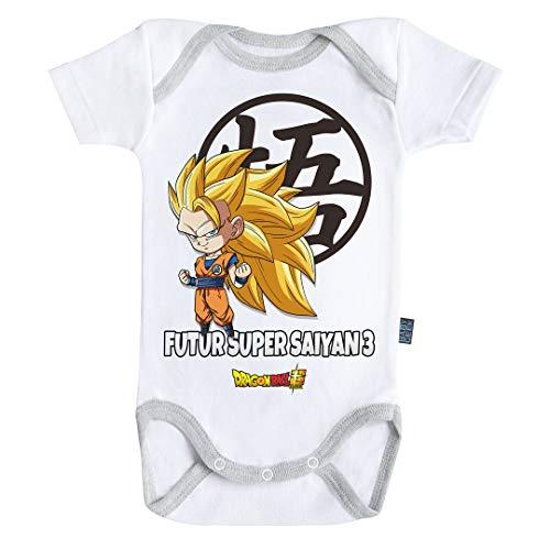 Baby Geek Futur Super Saiyan 3 - Body para bebé de manga corta con licencia oficial gris 6-12 Meses