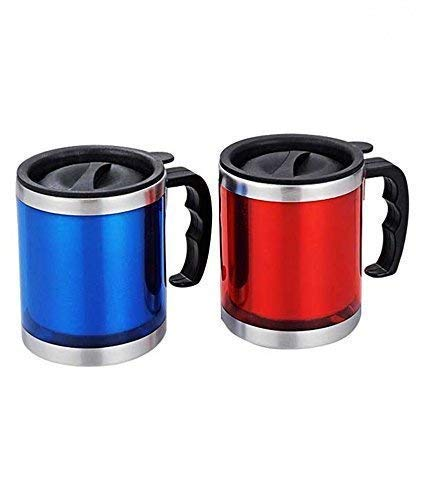 JMD DESIGN Stainless Steel Insulated Travel Mug 450ml Pack of 2- Red and Blue or Green