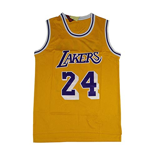 Legend Basketball Trikot -24# Kobe Bean Bryant Los Angeles Lakers Stickerei Retro Atmungsaktives Trikot, Swingman Jersey Shirt Bestes männliches Geburtstagsgeschenk (XS-XXL)-Yellow-XXL(190.195cm)