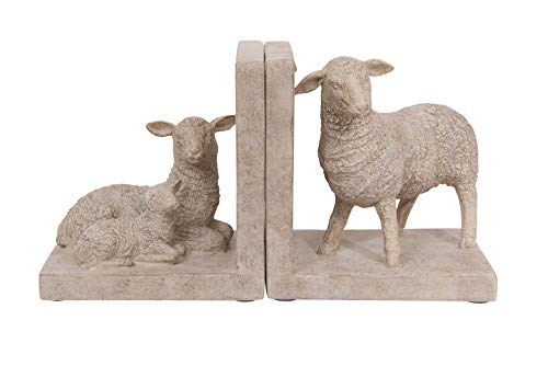Creative Co-Op Resin Sheep Shaped (Set of 2 Pieces) Bookends  Off-White