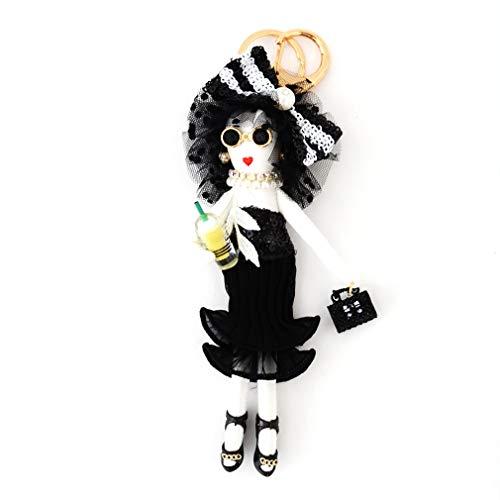 バッグチャーム 大人 かわいい オシャレレディードールチャーム レース ビジュー サングラス 人形 大人 キーホルダー 女の子 アフロ バックチャーム レディース レデイース キ-ホルダ- バッグ チャ-ム vnsa-c493 (D)