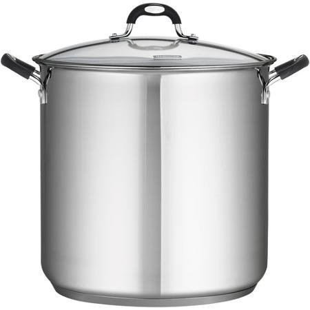 Tramontina 18/10 Stainless Steel 22-Quart Stockpot Covered with Clear Glass Lid, Silver by Tramontina