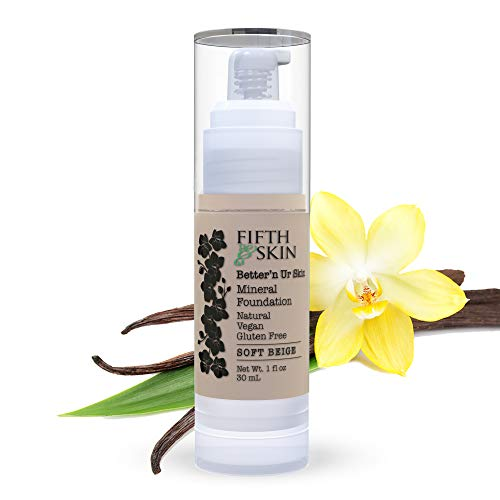 Fifth & Skin (SOFT BEIGE) Better'n Ur Skin Liquid Foundation – Natural – Organic - Gluten Free - Vegan - Cruelty Free - Palm Free - Natural Sun Protection – Healthy, Buildable Coverage - 1 oz.