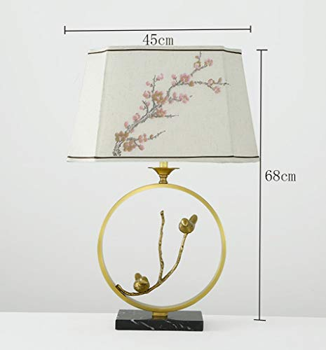 Tafellamp van marmer, brons, American Dorf, modern, Chinese stijl, lampenkap pruimenbloesem, koperkleurig 45 & Timen; 68 cm, energiebesparend en milieuvriendelijk