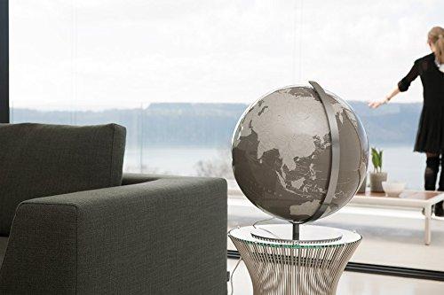 Columbus Leuchtglobus Artline: Design-Globus mit Kristallglas-Kugel in individueller Wunschfarbe (RAL, PANTONE oder NCS Farbton angeben), 40 cm, Meridian und Fuß Edelstahl