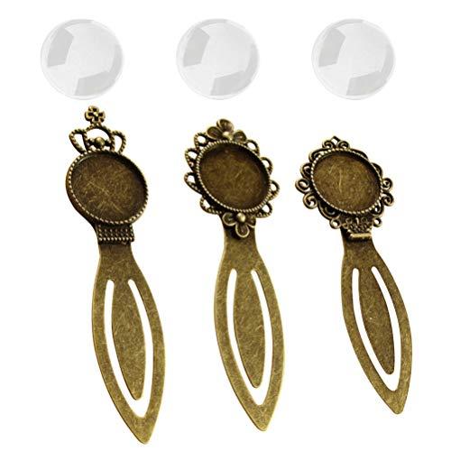 Artibetter 6 pezzi segnalibro vassoi pendente cabochon in vetro gioielli fai da te
