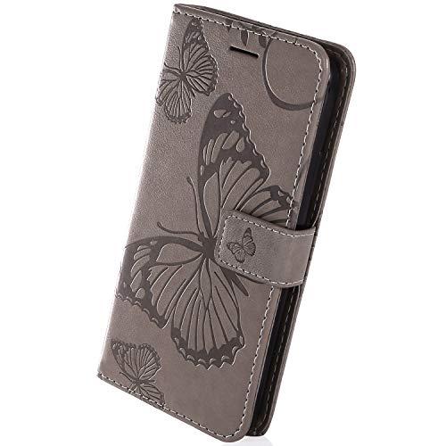Herbests Kompatibel mit Samsung Galaxy J4 Core Lederhülle Handyhülle Schutzhülle Ledertasche Wallet Hülle Schmetterling Klapphülle Stoßfest Handytasche Flip Tasche Stand Kartenfächer,Grau