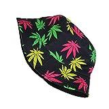 Amazing Impreso Plegable Sun de la sombrilla del Sombrero del Sombrero del Cubo del Casquillo for Hombres y Mujeres de Hoja Verde Sombra Sombrero j0915 (Color : Colorful, Size : 58cm)