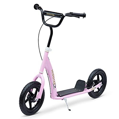 HOMCOM Patinete para Niños de +5 Años Scooter de 2 Ruedas Grandes de 12 Pulgadas con Freno y Manillar Ajustable en Altura Carga Máx. 100 kg 120x52x80-88 cm Rosa