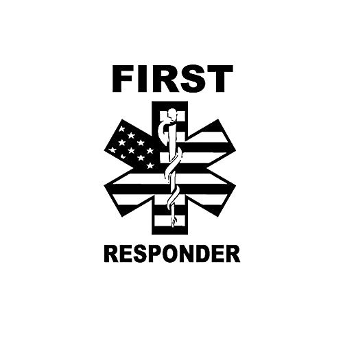 First Responder Symbol American Flag MKR Decal Vinyl Sticker |Cars Trucks Vans Walls Laptop|Black|5.5 x 3.8 in|MKR1352