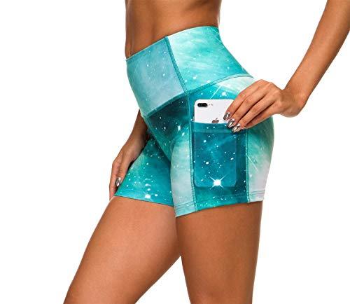 Flatik Sternenhafte Serie damen capri leggins Yoga Shorts atmungsaktiv sport leggings damen (Malachitgrün M)