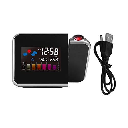 CamKpell Tragbare Projektions-Digitalwetter-LCD-Schlummerwecker-Farbdisplay mit LED-Hintergrundbeleuchtung Temperatur-Luftfeuchtigkeits-Tester - Schwarz