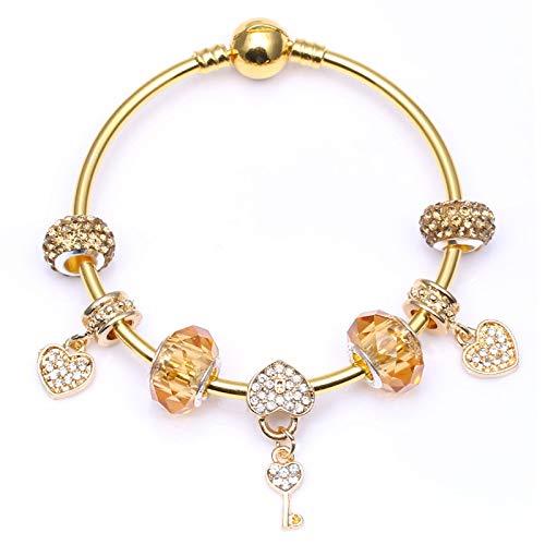 Estilo Europeo Oro Color Charm Brazalete Con Amor Clave Colgantes DIY Moda Pulsera Para Mujeres Joyería Regalo C01 17cm