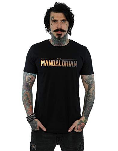 Star Wars Hombre The Mandalorian Series Logo Camiseta Negro Large