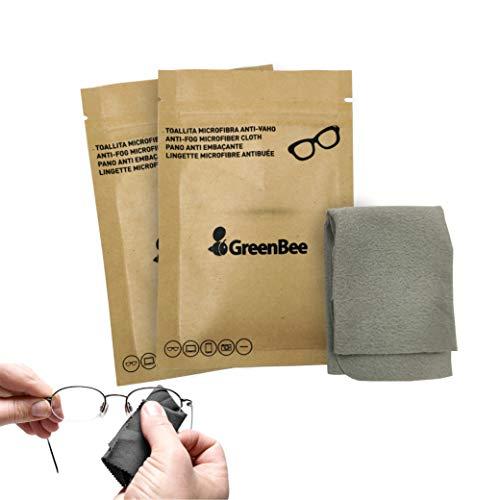 GreenBee - Set de 2 uds. Gamuza antivaho Gafas, Toallitas antivaho Gafas, Spray antivaho Gafas, Liquido antivaho Gafas, Bayeta antivaho, Antivaho Cristales Gafas, Anti-fogging Cloth