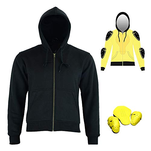 Motorbike Thick Kevlar Armoured Hoodie Motorcyle Summer Jacket FLEECE Hoody With Removable Armour Bikers Fasion Gears - Black (XL)