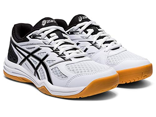 ASICS Kid's Upcourt 4 GS Volleyball Shoes, 3.5M, White/Black