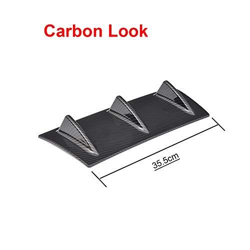 GSOLOYL Universal Car Heckstoßstange Diffuser Lip 5 3 Fin Shark Fin for BMW E46 E60 E90 Ford Focus 2 Audi A3 Carbon-Look Glossy Black (Color : Carbon 3 Fin)