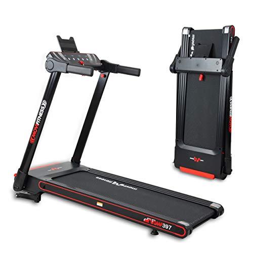 Movi Fitness Tapis roulant Professionale MF397, Pieghevole salvaspazio, Bluetooth, App Fitshow, Inclinazione Elettrica,12 km/h,Top di Gamma,Motore 2,5 HP Max, Extra Slim