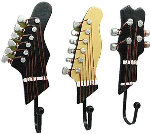 Juego de 3 Ganchos Decorativos Guitarra Forma Vintage Perchero de Pared para Colgar Sombrero,Abrigos,Teclas,
