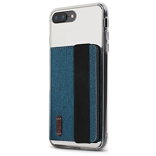 Ringke Flip Phone Card Holder met Elastische Band 3M Zelfklevende Telefoon Portemonnee Geval Stok Op ID Credit Kaarthouder voor iPhone, Galaxy, LG, Google Telefoon Hoesje - Blue Green