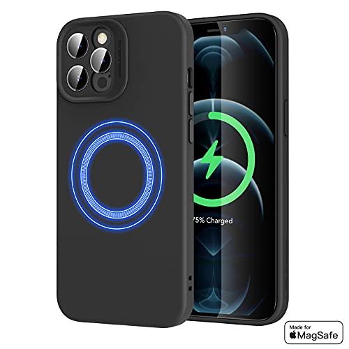 ERS Funda MagSafe Compatible con iPhone 12 Pro (2020) 6.1', MagSafe Certificación, Magnética Carcasa Híbrida de Silicona líquida, Protección de Cuerpo Completo, Negro