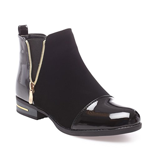 La Modeuse - Boots bi-matière en smilicuir avec...
