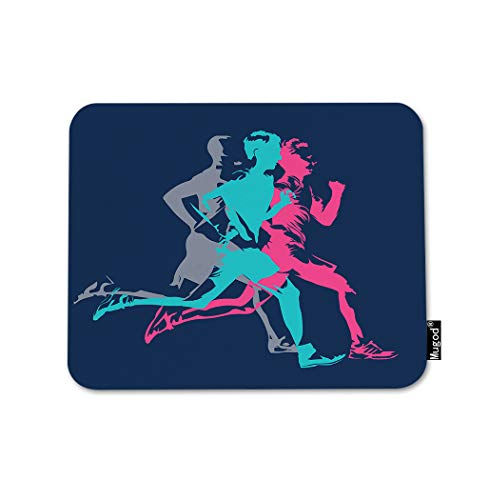 Mugod Marathon Running Mouse Pad Colorful Adult Runners Jogging Gym Shoes Blue Pink Gaming Mouse Mat Non-Slip Rubber Base Mousepad for Computer Laptop PC Desk Office&Home Working 9.5x7.9 Inch