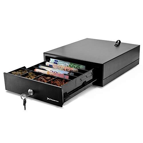 Phoenix Technologies - Cajón Portamonedas Eléctrico Automático para Dinero en Efectivo con Cerradura 4 Compartimentos de Billetes y 4 de Monedas