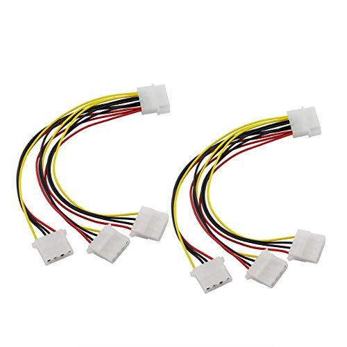 ZRM&E 2pcs 4Pin IDE PSU Power Splitter Cable D Type Large 4P Molex 1 Male to 3 Female Multiplier PC Fan Extension Cable