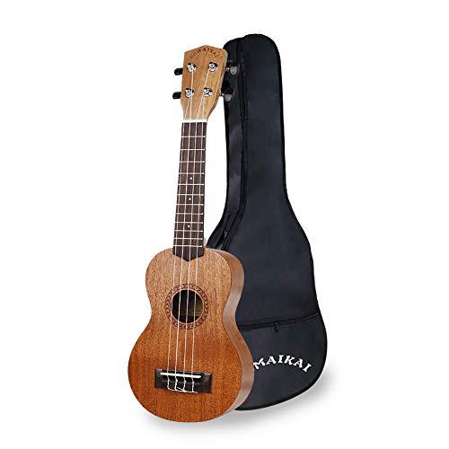 POMAIKAI Soprano Ukelele para Principiantes, Ukelele Hawaiano para Niños, Guitarra de 21 Pulgadas con Bolsa para Niños Estudiantes y Principiantes (color de madera 21 pulgadas)