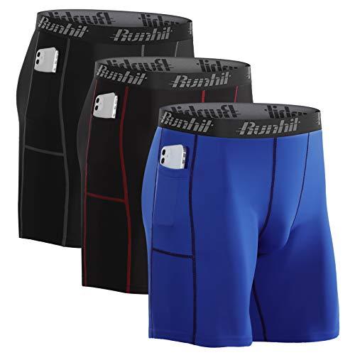 Runhit - Pantalones cortos de compresión para hombre - - Medium