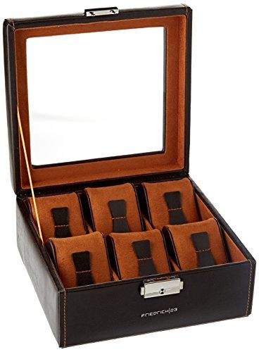 Friedrich|23, Uhrenkasten, Für 6 Uhren, Leder-Optik, Mit Glasdeckel, 18 x 18 x 8,5 cm, Abschließbar, Bond, Feinsynthetik, Braun, 20085-3