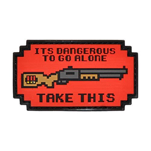 Cobra Tactical Solutions Parche Militar It Is Dangerous To Go Alone Shotgun PVC Patch con Cierre de Velcro para Airsoft, Paintball, Ropa táctica y Mochila