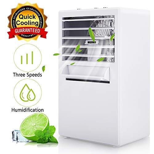 Winload 3-In-1 Condizionatore Portatile, Mini Raffreddatore D'aria, Mini Evaporativo Umidificatore, Portatile Refrigeratore D'aria, 3 Velocità, Climatizzatore e Raffreddamento Acqua