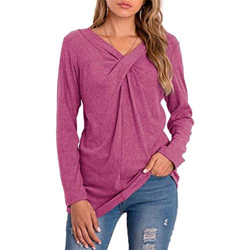 Blusa con Cuello de Pico de Color Sólido para Mujer, Camiseta de Manga Larga Torcida