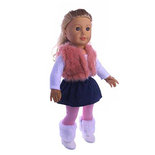 AmaMary Anzieh Kleidung für für 18 Zoll American Girl, 4PC / Set Puppe Kleidung Kleid Outfit Weste Hosen T-Shirt Set für 18 \'\' American Girl Generation Puppe